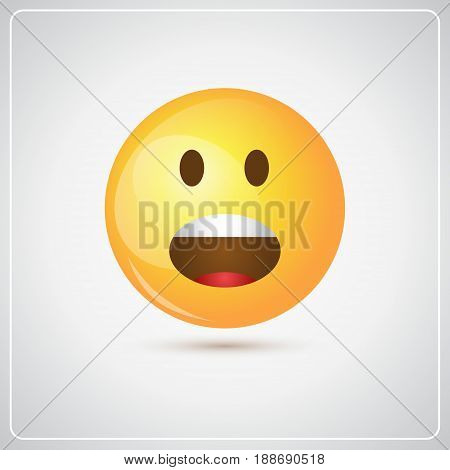 Yellow Cartoon Face Screaming People Emotion Icon Vector Illustration
