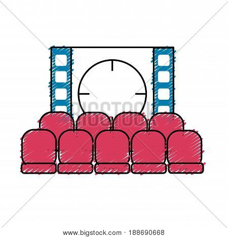 cinema room with movie projection and chairs, vector illustration