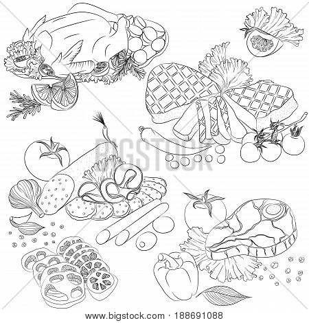 Vector line art illustration with food. Set with various meat products. Illustration for menu cookbook or coloring book. Sketch isolated on white background