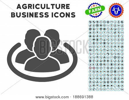 Social Ring gray icon with agriculture business icon clipart. Vector illustration style is a flat iconic symbol. Agriculture icons are rounded with blue circles.