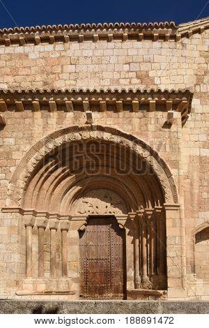 Detail Of Romanesque Portal Of The Church Of San Miguel Or San Valero, Daroca. Zaragoza Province, Ar