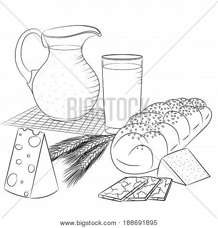 Vector line art illustration with food. Still life with dairy products and bread. Illustration for menu cookbook or coloring book. Sketch isolated on white background