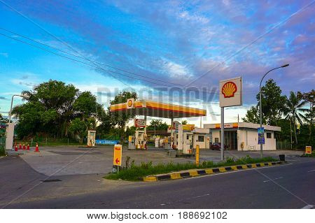 Beaufort,Sabah-May 28,2017:Shell gas station in Beaufort town,Sabah,Borneo against blue sky clouds on 28th May 2017.Shell has been a partner in fuelling Malaysia's progress for over 125 years.