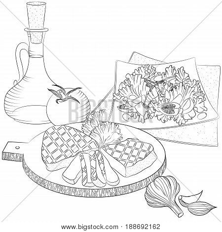 Vector line art illustration with food. Still life with meat olive oil and salad. Illustration for menu cookbook or coloring book. Sketch isolated on white background
