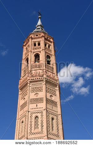 Bell tower of San Andres church (Moorish style). Calatayud Zaragoza Aragon Spain Europe