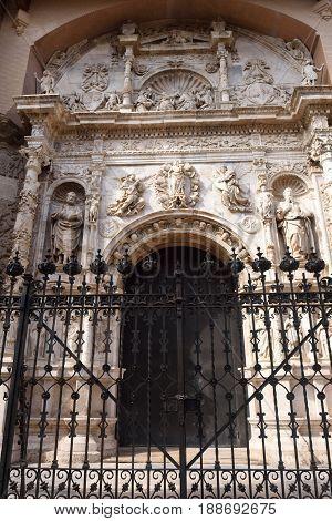 Entrance of Collegiate church of Santa Maria la Mayor Calatayud. Zaragoza province Aragon