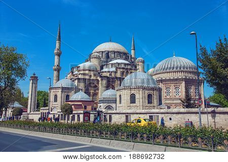 ISTANBUL, TURKEY - APRIL 30, 2017: The Sehzade Mosque or Prince's Mosque or Sehzade Camii is an Ottoman imperial mosque located in the district of Fatih, Turkey