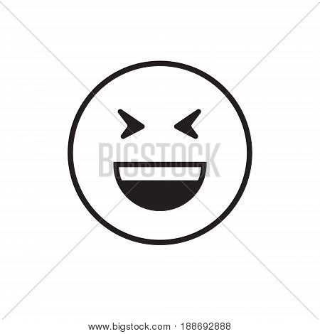 Smiling Cartoon Face Laugh Positive People Emotion Open Mouth Icon Vector Illustration