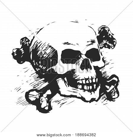 Human skull and cross bones. Vector sketch black-white stock illustration. Monochrome print on a T-shirt.