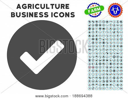Yes gray icon with agriculture business glyph clip art. Vector illustration style is a flat iconic symbol. Agriculture icons are rounded with blue circles. Designed for web and software interfaces.