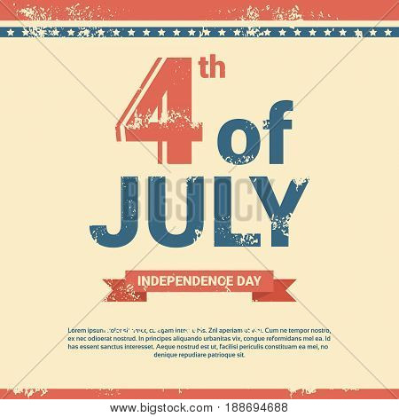 United States Independence Day Holiday 4 July Banner Greeting Card Vector Illustration