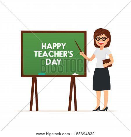 Cute Teacher. Happy Teacher's Day. Vector illustration in cartoon style.