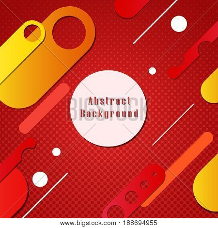 Red background with colored forms shapes. Vector illustration