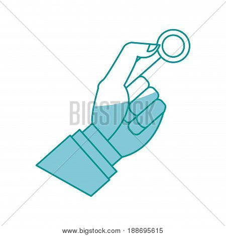 hand man business with coin money icon vector illustration