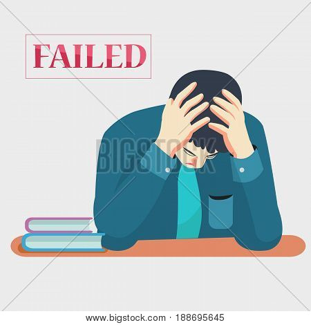 Strain and Serious Business man from working failed and sit at desk with book,text white background