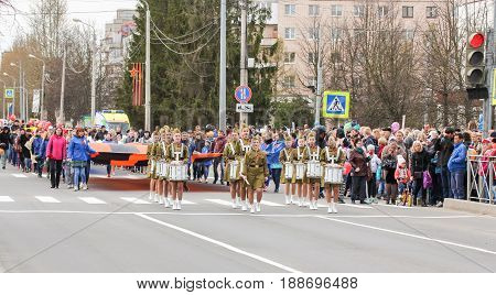Kirishi, Russia - 9 May, A crowd of people on the stock, 9 May, 2017. Preparation and conduct of the action Immortal regiment in small cities of Russia.