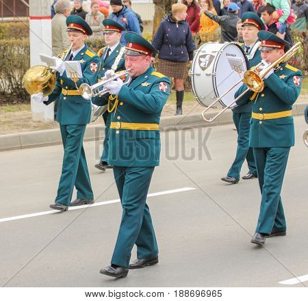 Kirishi, Russia - 9 May, A group of military musicians, 9 May, 2017. Preparation and conduct of the action Immortal regiment in small cities of Russia.