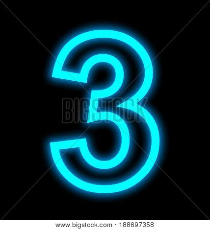 Number 3 Neon Lights Outlined Isolated On Black