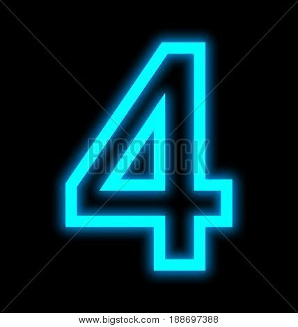 Number 4 Neon Lights Outlined Isolated On Black