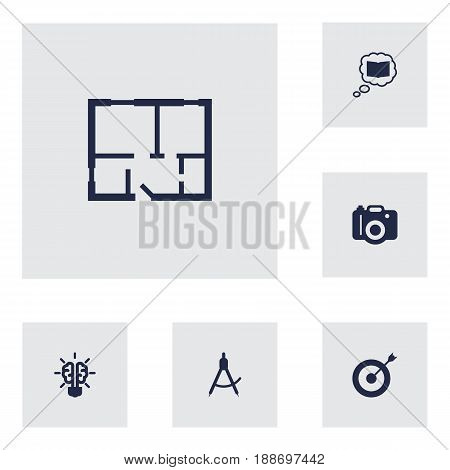 Set Of 6 Creative Icons Set.Collection Of Photo, Compass, Bulb And Other Elements.