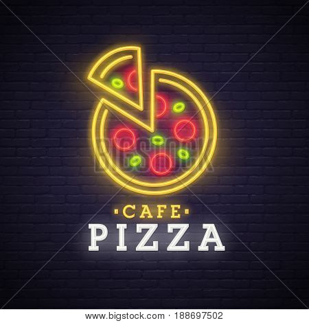 Pizza logo, emblem. Pizza neon sign, bright signboard, light banner. Neon sign.
