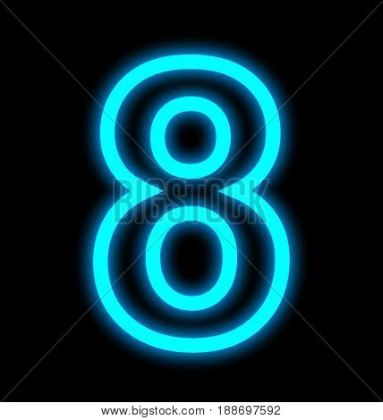 Number 8 Neon Lights Outlined Isolated On Black