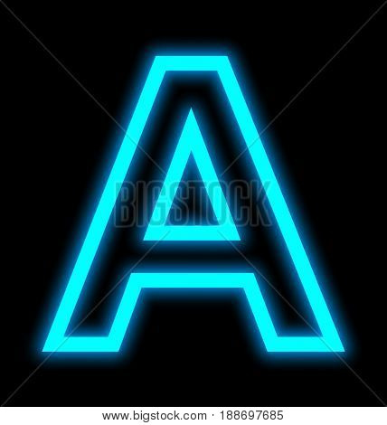 Letter A Neon Lights Outlined Isolated On Black