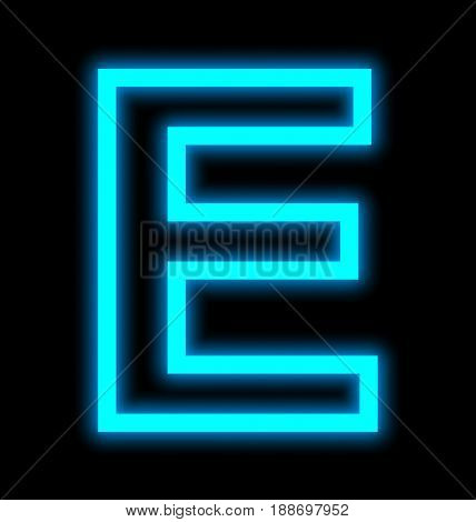 Letter E Neon Lights Outlined Isolated On Black