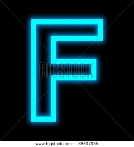 Letter F Neon Lights Outlined Isolated On Black