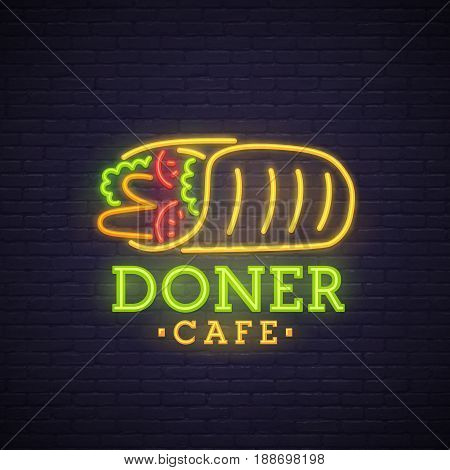 Kebab neon sign, bright signboard, light banner. Doner logo, emblem.
