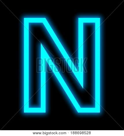 Letter N Neon Lights Outlined Isolated On Black