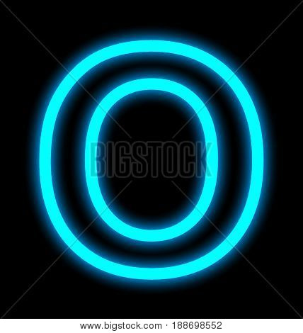 Letter O Neon Lights Outlined Isolated On Black