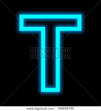 Letter T Neon Lights Outlined Isolated On Black