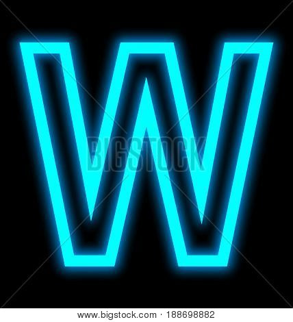 Letter W Neon Lights Outlined Isolated On Black