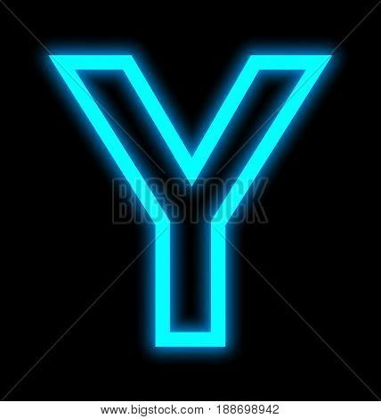 Letter Y Neon Lights Outlined Isolated On Black