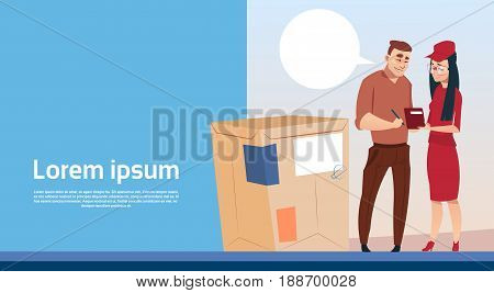 Man Sign Document Courier Woman Box Delivery Package Post Service Banner Copy Space Flat Vector Illustration
