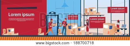 Courier Man And Woman Carry Boxes Delivery Package Post Service Warehouse Interior Banner Copy Space Flat Vector Illustration