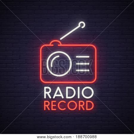 Radio Record neon sign. Neon sign, bright signboard, light banner