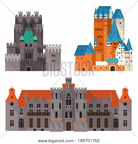 Ancient high castle with turrets and wide medieval citadel with stone walls. Defense fortification or fortress with gate icon, king palace or gothic mansion.Building and construction, historical theme poster
