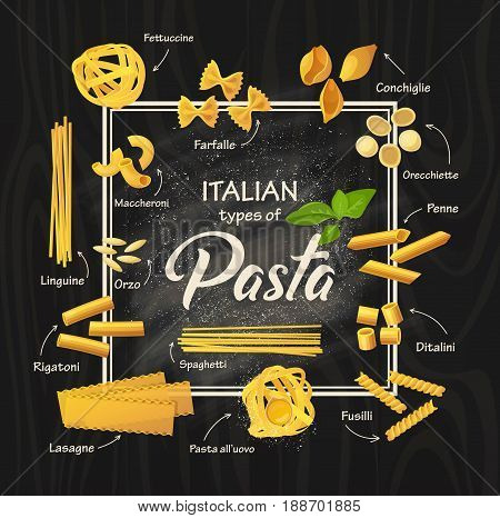 Different types of italian pasta or macaroni with arrows, meal of spaghetti. Cuisine with fettuccine and farfalle, conchiglie and penne, ditalini and fusilli, lasagne and rigatoni, orzo, and linguine.
