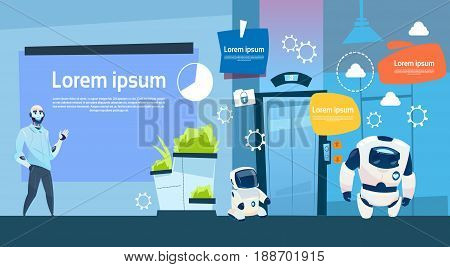 Modern Office Business Robots Group Working, Company Cyborg Team Banner With Copy Space Flat Vector Illustration