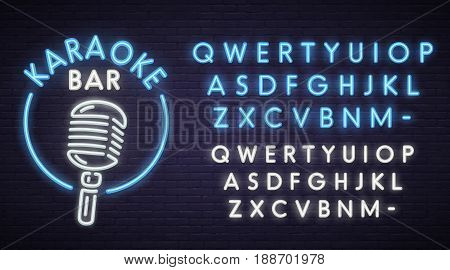 Karaoke neon sign, bright signboard, light banner. Karaoke Bar logo, emblem. Neon sign creator. Neon text edit.