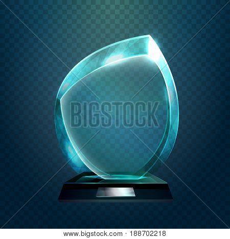 Shiny glassware 3d award or prize with rounded corners. Sport trophy or transparent achievement sign. Pedestal event celebration theme and championship badge, winner of competition ceremony