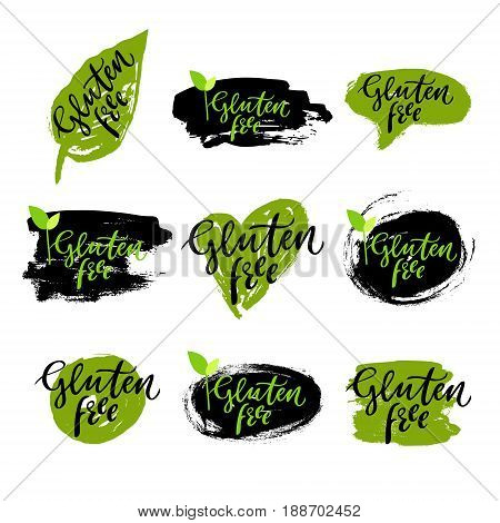 Locally grown eco set: hand drawn logos, labels with spots. Vector illustration eps 10 for food, drink, restaurants, menu, markets, organic products, package. Brush lettering calligraphy