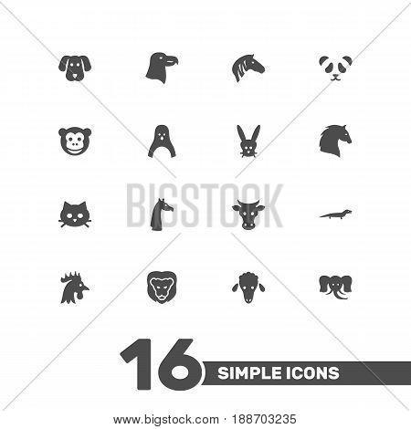 Set Of 16 Animal Icons Set.Collection Of Rooster, Hound, Trunked Animal And Other Elements.