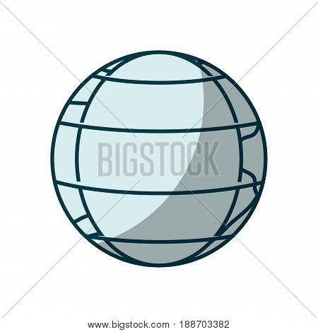 blue shading silhouette of earth globe with meridians and parallels vector illustration