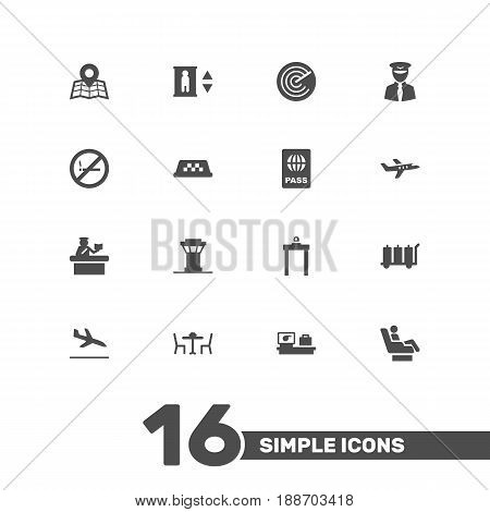 Set Of 16 Aircraft Icons Set.Collection Of Air Traffic Controller, Cab, Security And Other Elements.