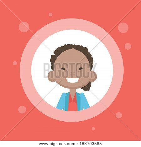Profile Icon Female Avatar, African American Woman Cartoon Portrait, Casual Person Face Flat Vector Illustration