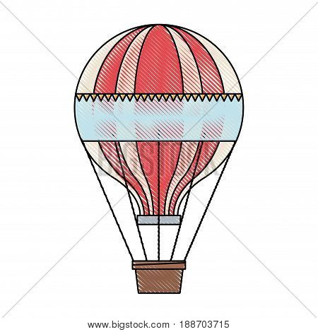 funfair airballoon with stripes basket transportation vector illustration