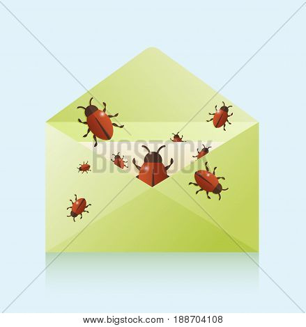 Bugs In The Mail, Vector Illustration